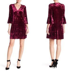 Eliza J Bell Sleeve Crushed Velvet Dress Plum 12